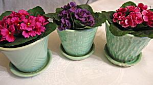 Vintage Aqua Planter Pots w/Saucers (Image1)
