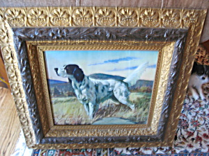 Antique Frame And Spaniel Print
