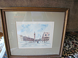 Scenes Of Venice Signed Watercolor