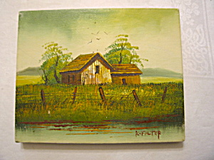 Artist Signed Oil Painting - Barn