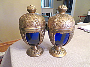 Victorian Cobalt Glass Chalices