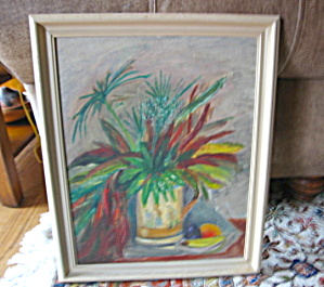 Signed Vintage Oil On Board