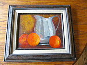 Vintage Still Life Oil On Board