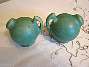 Vintage Matte Green Pottery Shakers