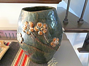 Signed Redware Hand Formed Vase