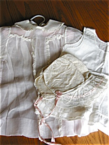 Vintage Baby Dress, Bonnet, Slip
