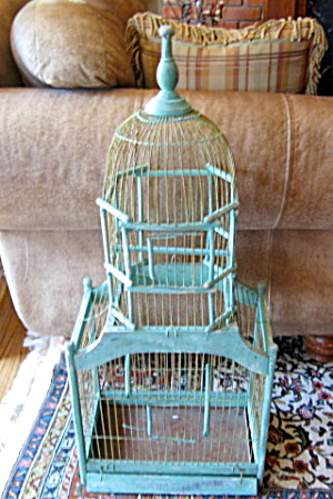 Victorian Domed Wooden Birdcage