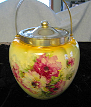 Transferware Roses Biscuit Jar Antique