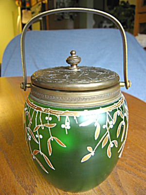 Antique Art Glass Biscuit Jar