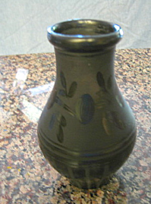 Signed Black Pottery Bud Vase