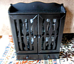 Vintage Black Spice Rack And Jars