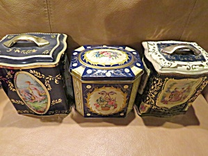 Blue Vintage Tin Trio