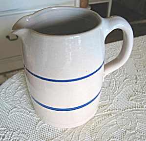 Vintage Blue White Stoneware Pitcher