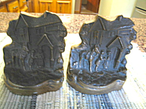 Antique Bronze Cottage Bookends