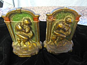 Thinker Bookends Vintage Polychrome