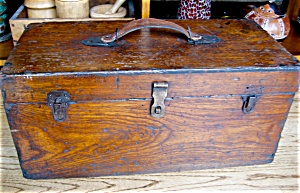 Large Vintage Oak Tool Chest