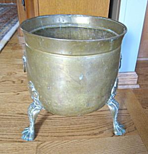 Vintage Brass Footed Jardinaire Large (Image1)