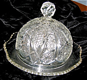 Antique Pattern Glass Butter Dish