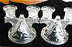 Vintage Glass Candleholder Pair