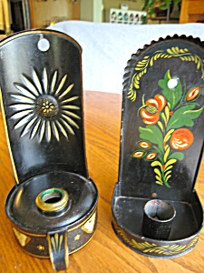 Vintage Toleware Candleholders (Image1)
