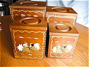 Vintage Kitchen Cannister Set Roosters (Image1)