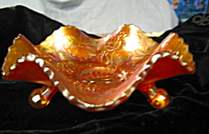 Carnival Glass Water Lily Footed Bowl