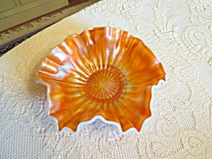 Carnival Op Ruffled Glass Bowl