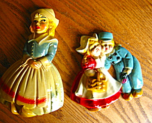 Dutch People Chalkware Wall Plaques