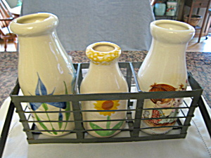 Ceramic Milk Bottles W/rack