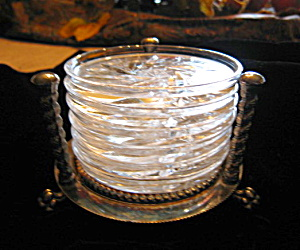 Cut Glass Coasters Rogers Silverplate