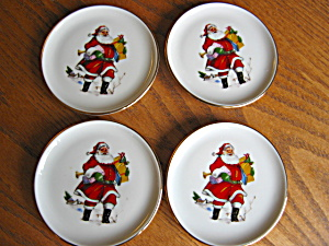 Collectible W. German Porcelain Santa Coasters (Image1)