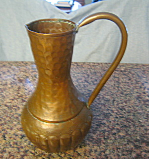 Vintage Hammered Copper Pitcher Large