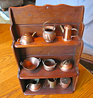 Copper Miniature Pots W/rack Vintage