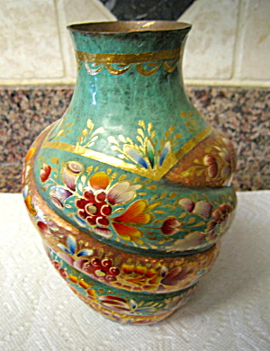 Vintage Enameled Copper Vase