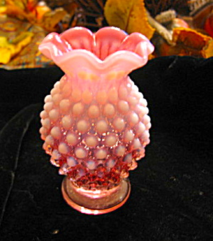Vintage Cranberry Crimped Vase
