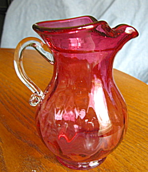 Vintage Cranberry Glass Pitcher (Image1)