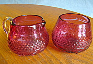 Vintage Cranberry Glass Creamer & Sugar