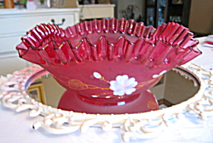 Cranberry Enameled Glass Victorian Vase