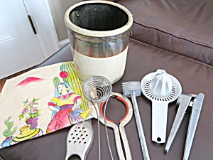 Antique Crock & Kitchen Gadgets