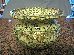 Antique Spongeware Cuspidor Green