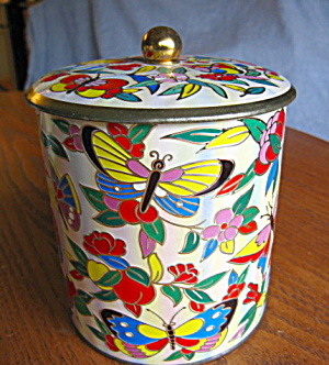 Vintage Biscuit Tin Bufferflies Daher