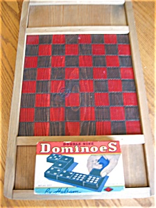 Vintage Halsam Dominoes And Checkerboard
