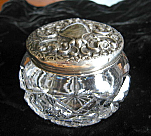Antique Sterling Crystal Dresser Jar