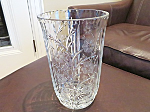 Vintage Etched Cut Glass Vase