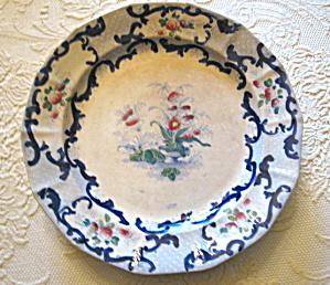 Antique Flow Blue Earthenware Plate (Image1)
