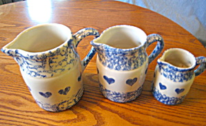 Friendship Pottery Blue Sponged Heart Pitchers