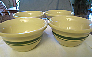 Friendship Pottery Green Stripe Bowls