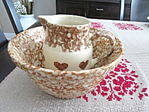 Friendship Pottery Brown Spongeware