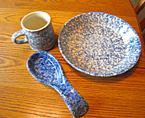 Friendship Pottery Blue Spongeware