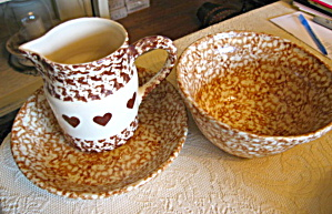 Friendship Pottery Brown Sponged Trio